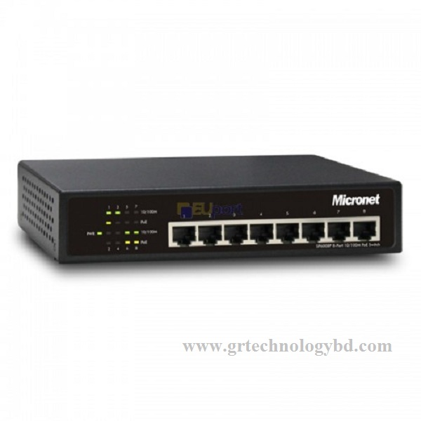Micronet SP6008P 10/100 Mbps 8 Port Unmanage PoE Switch Image