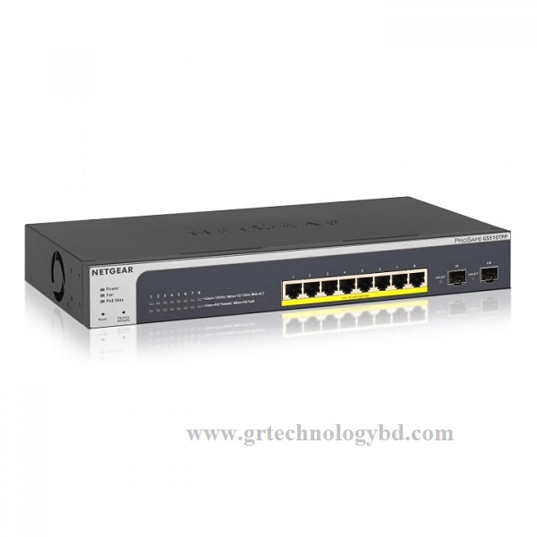 Netgear Prosafe GS110TP 8 Port Gigabit POE Smart Switch Image