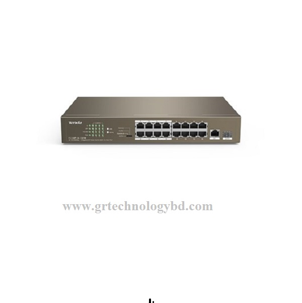 Tenda TEF1118P 18 (16-Port 10/100Mbps + 2 Gigabit) Web Smart PoE Switch Image