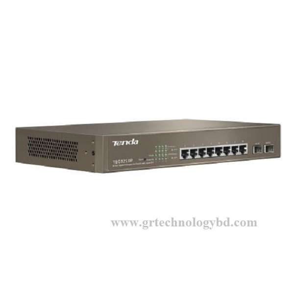 Tenda TEG3210P 10 Port (8 Gigabit PoE + 2SFP) Managed PoE Switch Image